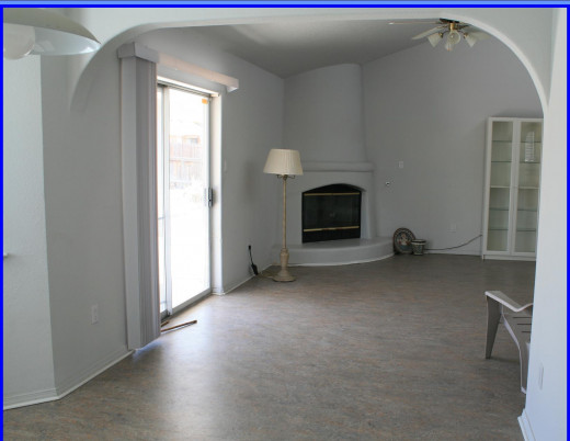 Kiva fireplace in Living Room Very special environmentally sound Marmoleum flooring