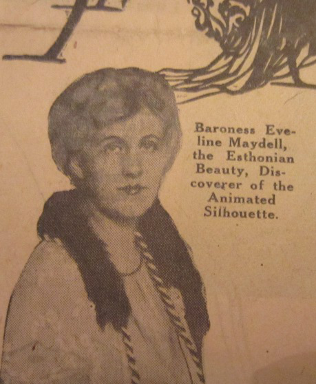 Old newspaper cutout depicting Baroness von Maydell