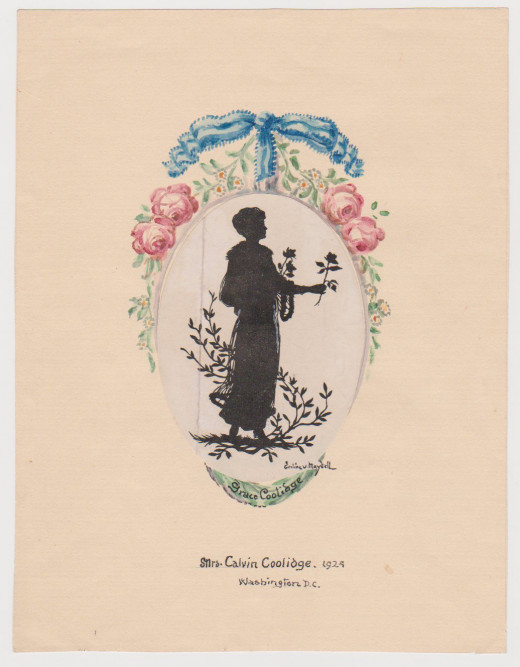 Example of von Maydell's typic work in an atypic technique. Instead of being paper cut silhouette, this one is an ink painting. Depicted: Mrs Calvin Coolidge, 1924