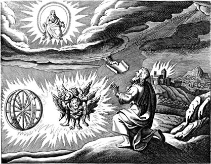 An engraved illustration of Ezekiel's 'vision' (1670)