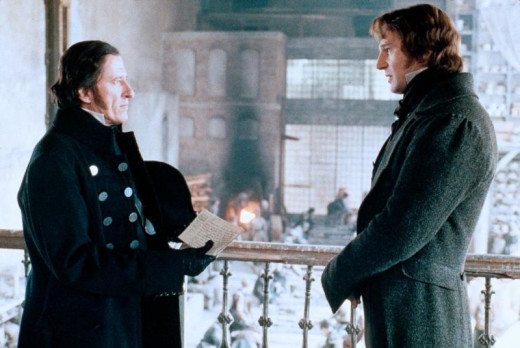 Geoffrey Rush and Liam Neeson in Les Miserables (1998)