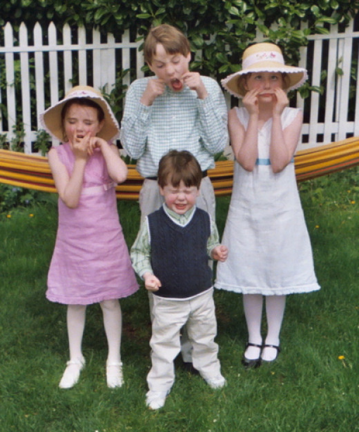 Children dressed up for Easter
