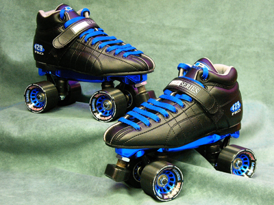 A pair of quads skates. Most professional skaters take off the brakes that are in the front.