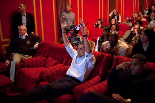 Obama watching Super Bowl