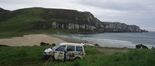 Our Wicked Campers campervan at Purakannui Beach, NZ South Island
