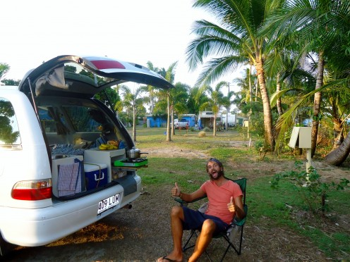 Enjoying a rest outside my Jucy Campers campervan in Australia