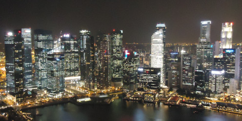 Singapore Skyline as seen from the Skypark at Marina Bay Sands