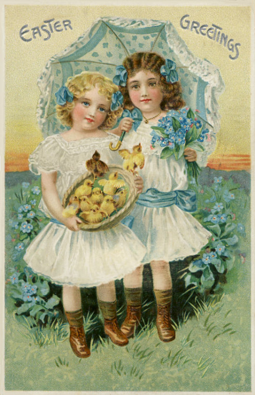 "This is another card by Tuck with the full info as in the first two cards above.  This is from the ""Easter Postcard Series No7000""  The postmark isn't clear but it looks like it might be from 1909."