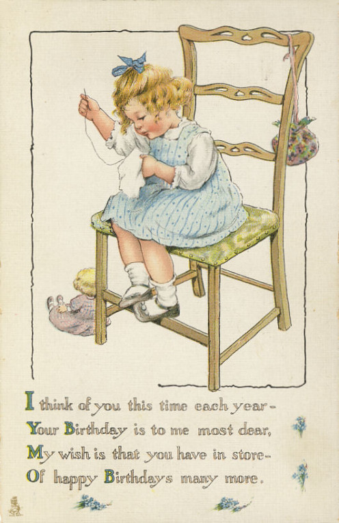 "This is another Tuck card and postmarked 1917.  It is from the ""Everyday Children Postcard Series No. 195"""
