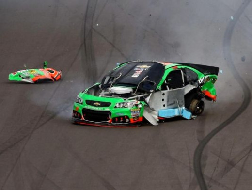 Danica Patrick's racecar is demolished after a blown tire sent her into the outside wall at Phoenix