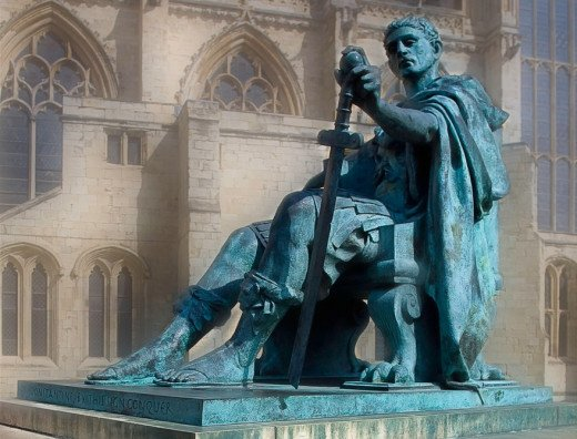 Bronze statue of Constantine I in York, England, near the spot where he was proclaimed Augustus in 306