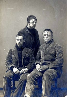 Three Princeton students after the annual Freshman-Sophomore snow ball fight. ca. 1893, Princeton, NJ.