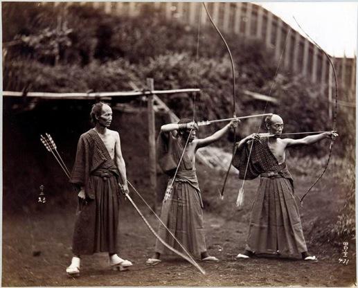 Three archers, Japan, ca.1860-1900.