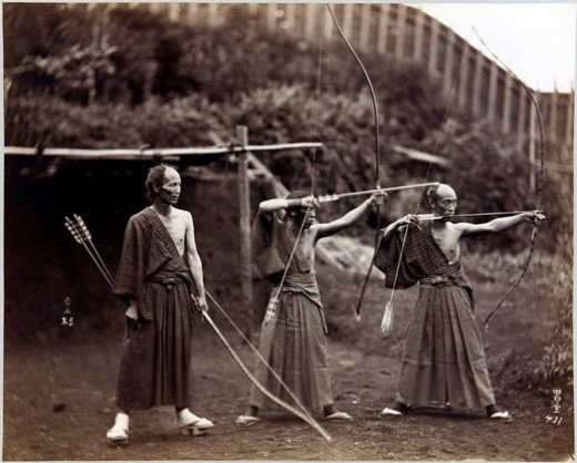 Three archers, Japan, ca.1860-1900.