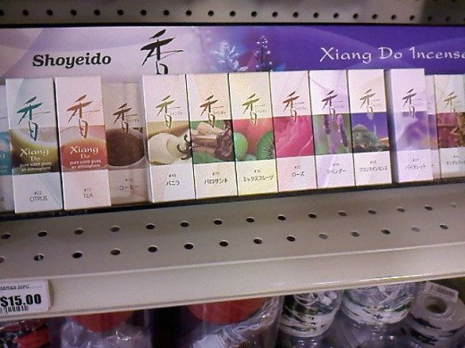 Incenses! There are different brands of incenses as I find my way on every aisle. Love the color on this brand, so I took a photo.
