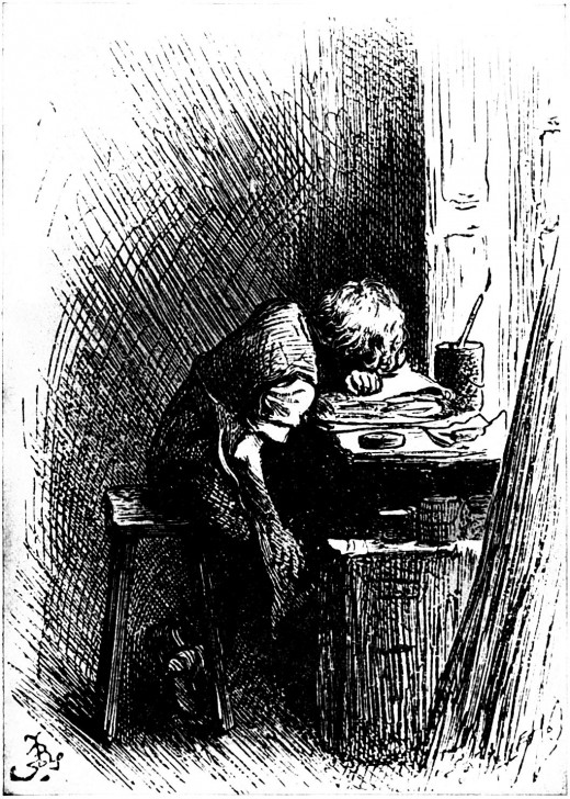 Dickens Working at a Blacking Factory, aged between eight and twelve years old. Published in 'The Leisure Hour' in 1904.