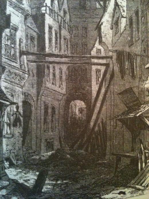 Detail of illustration for 'Bleak House' - the slum of 'Tom All Alone's' by Phiz.