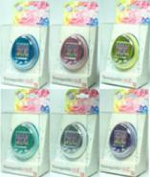 Tamagotchis with color screens that are in English come in white packaging as shown here.
