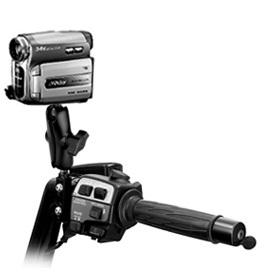 This motorcycle video camera mount system allows the rider to record their rides. These can later be shared with Youtube, friends and family, etc.
