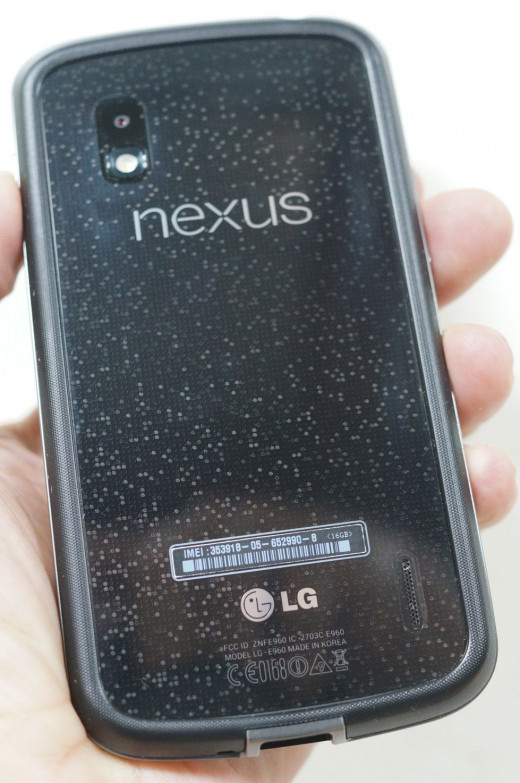The glittery reflective glass back on the LG Nexus 4.  This photo shows the phone fitted with the $19.95 bumper that is also sold with the phone on Google Play.