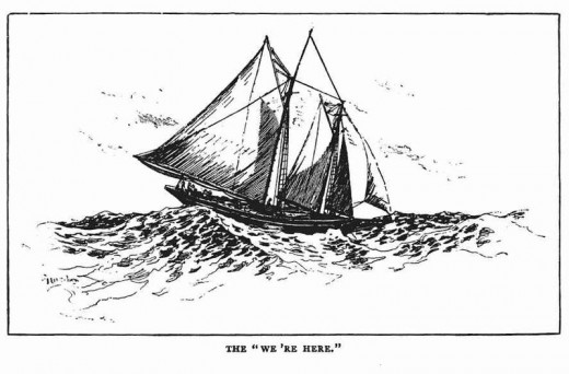 "The ship ""We're Here"" as illustrated in Kipling's book."