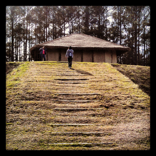 The Hut atop the Mound; Town Creek Indian Mound, Mt Gilead, NC.