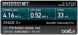Example speed test result