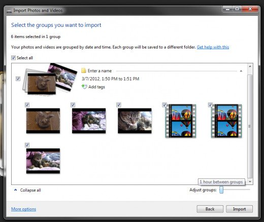 Organize how to import your content by adjusting the folder name and how long between photos were taken.