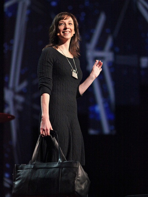 "Photograph of author Susan Cain delivering a TED talk, taken on February 28, 2012 using a Canon EOS 5D Mark II by flickr user ""jurvetson"" (Name: Steve Jurvetson)"