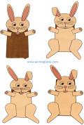 A rabbit paper bag puppet