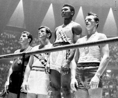 Light-heavyweight gold medalist Muhammed Ali; 1960 Summer Olympic Games (at the age of 18 years)