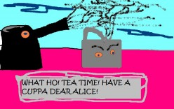 The tea party in the first Alice book.