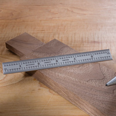 """A 6"""" metal type ruler with laser engraved increments"""