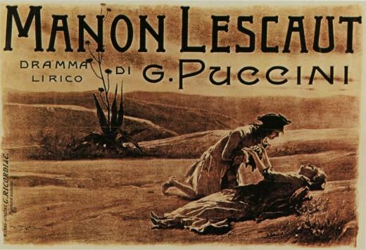 Original poster for Giacomo Puccini's Manon Lescaut