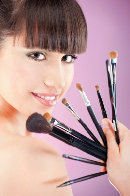 using makeup brushes instead of the applicators that come with eyeshadows and powders will also extend the life of cosmetics.