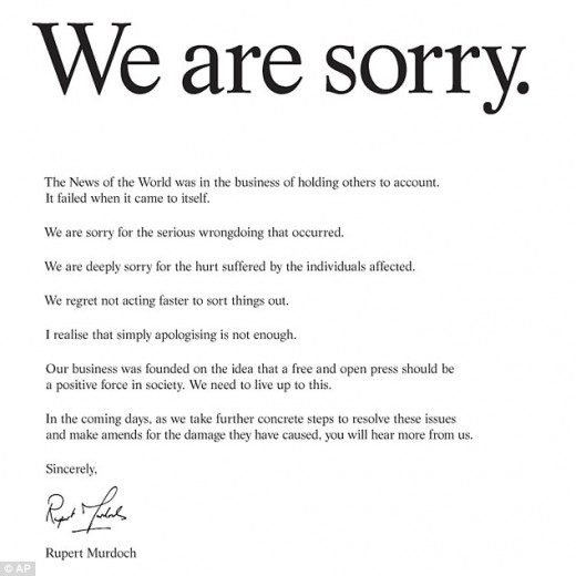 Rupert Murdoch's apology letter to victims of News of the World's hacking scandal, May, 2012.