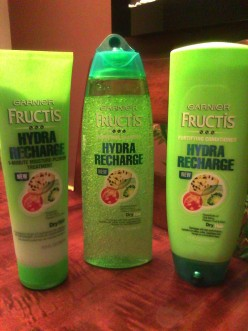Garnier Fructis Hydra Recharge Shampoo, Conditioner and 1-minute moisture-plenish For Dry Hair-a review