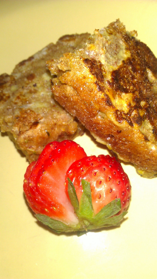 This is french toast that I made with leftover zucchini bread