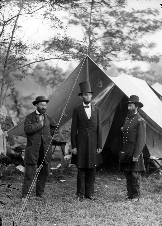 Allan Pinkerton, President Abraham Lincoln, and Major General John A. McClernand.