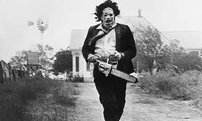 """Above is a man known as """"Leather Face,"""" which is the villain in the Texas Chainsaw movies. As each movie is released, the story of the masked murderer is unveiled and the audience is taught a lesson or two from his childhood."""