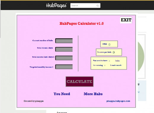HubPages Calculator