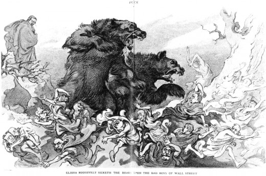 The Bears on Wall Street - cartoon late 1800's
