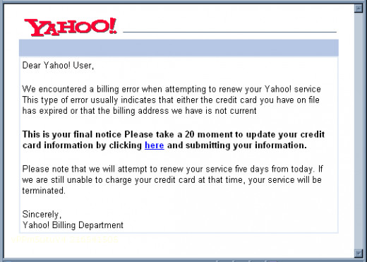 Yahoo Billing SCAM Email