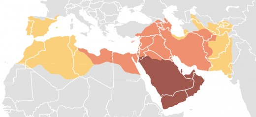 The dark area shows the expansion of Islam under Muhammad's leadership, while the lighter areas show its expansion after his death.