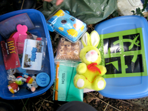 A look at the inside of a nice geocache, complete with trade prizes and a notebook.