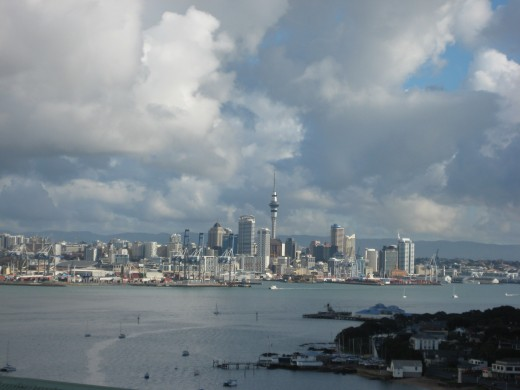 A Panoramic view of Auckland from the north shore.