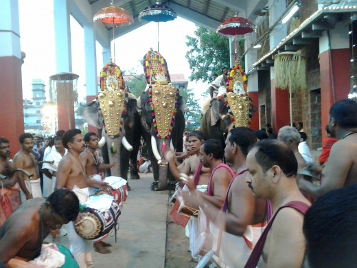 The Festival Celebration in a Temple in Kozhikode, Kerala.