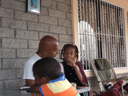 Uncle Noel and his great niece and nephew