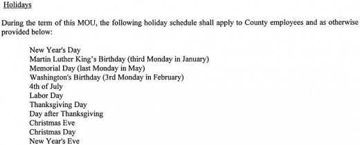 A government employee contract outlining what the holidays are.