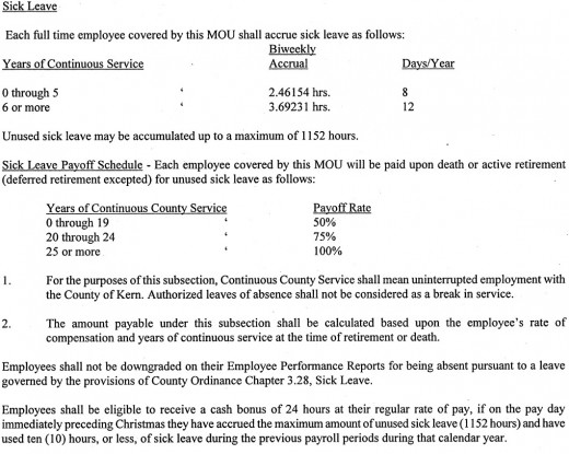 A government employee contract outlining how employees earn sick leave.